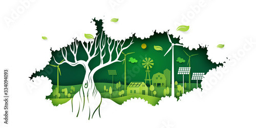 Fototapeta Ecology concept with big tree and green eco life background.Environment conservation resource sustainable.Vector illustration. obraz