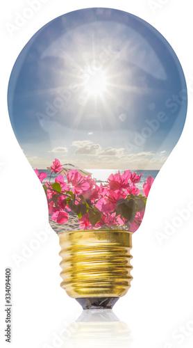Photo Vacances tropicales au soleil dans une ampoule électrique