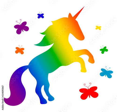 Fototapeta Rainbow cartoon silhouette of a unicorn horse rearing up, with a flowing mane and seven colorful butterflies around. White background. Vector graphics, illustration obraz