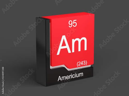 Americium, periodic table element modern icon series, 3D rendered on black backg Wallpaper Mural