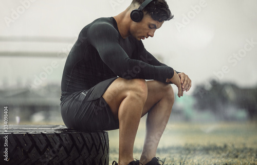 Athlete resting after intense cross training Canvas Print