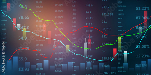 Fotomural stock market crash caused by, economic graph with diagrams, business and financi