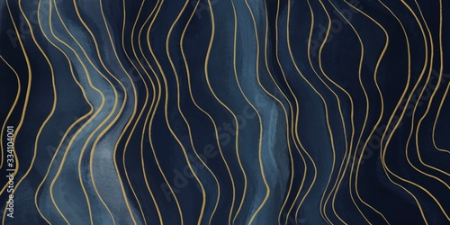 Obrazy do jadalni  abstract-art-paint-navy-blue-with-gold-curved-lines-for-backgrounds-banner-in-concept-lux