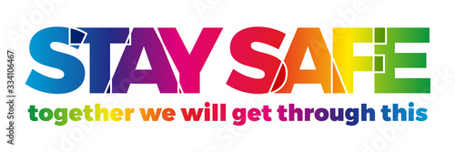 Fototapeta The word Stay Home, save you by coronavirus. Vector banner with the text colored rainbow. obraz