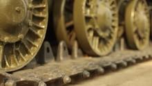 Video 4k Footage Military Equipment, Details Of Soviet Tanks Tracks, Armor And Guns