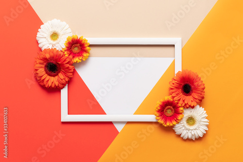 Obraz Happy Mother's Day, Women's Day, Valentine's Day or Birthday Living Coral Lush Lava Background. Floral flat lay greeting card template with beautiful gerberas. - fototapety do salonu