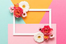Happy Mother's Day, Women's Day, Valentine's Day Or Birthday Pastel Colored Background.  Multicolored Flat Lay Mock Up Greeting Card With Beautiful Flowers.