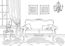Living Room Graphic Black Whit...