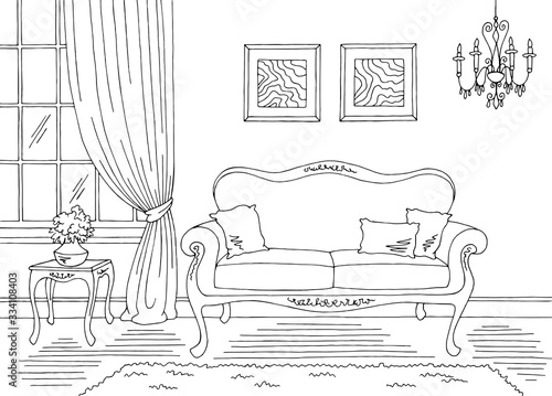 Obraz Living room graphic black white classic home interior sketch illustration vector - fototapety do salonu