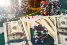 Dollar Bills, Casino Chips And...