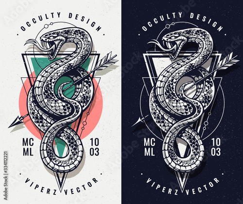 Occult Design With Snake and Geometrics