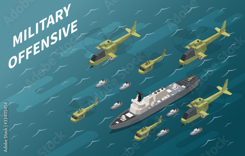 Military Air Forces Operation Isometric Wallpaper Mural