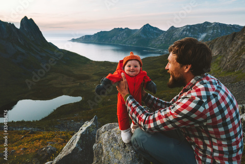 Fényképezés Father hiking with infant baby travel family healthy lifestyle adventure vacatio