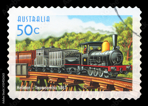 Tela AUSTRALIA - CIRCA 2004: A used postage stamp from Australia, commemorating the train service between Helidon and Toowoomba, circa 2004