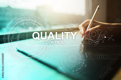 Fototapeta Quality control check box. Guarantee Assurance. Standards, ISO. Business and technology concept. obraz