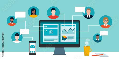 Fototapeta Professional business people working remotely online obraz