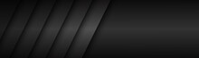 Abstract Dark Black And Grey Modern Material Header. Technology Banner. Vector Abstract Widescreen Background