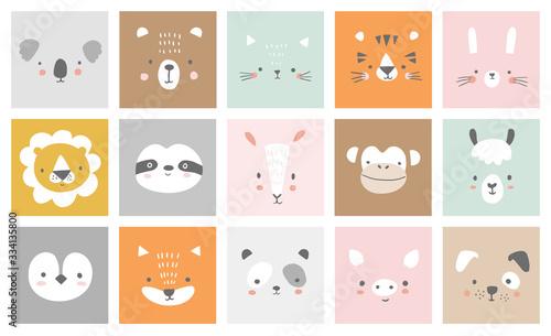 Naklejka premium Śliczne proste portrety zwierząt - zając, tygrys, niedźwiedź, lenistwo, kot, koala, lis, alpaka, lama, panda, pingwin, lew, pies, koza, świnia. Projekty ubrań dla niemowląt. Ręcznie rysowane postacie. Ilustracji wektorowych.
