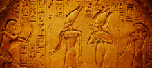 Ancient Egypt Hieroglyphics With Pharaoh And Ankh
