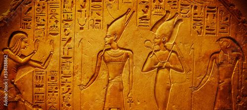 Fotografie, Obraz Ancient Egypt hieroglyphics with pharaoh and ankh