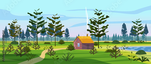 Meadow and forest landscape nature, spruce pine trees, grass and bushes Tableau sur Toile