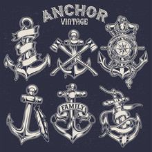 Old Vintage Anchor Ribbon Hemp Rope  Vector
