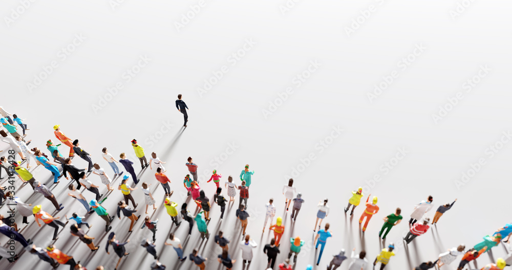 Fototapeta Businessman leader leading a large group of people.