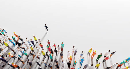 Businessman leader leading a large group of people.