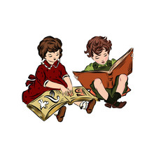 Little Girl And Boy Read Books Sitting On The Floor Together. Infant Age. Clever Kids.
