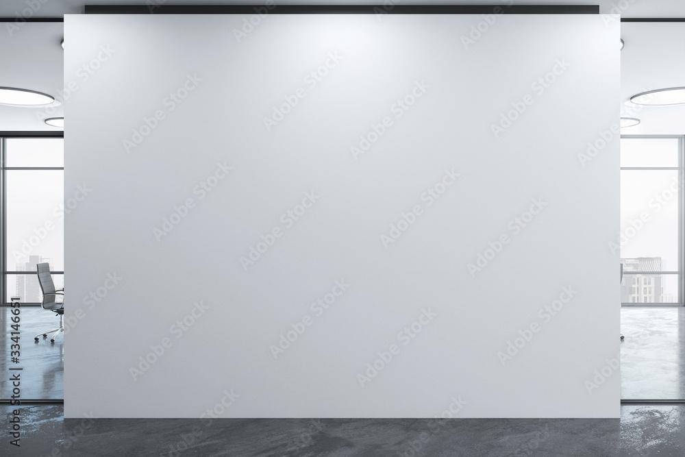 Fototapeta Blank wall in coworking office interior.