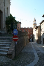 Castell'Arquato, Italy : Street With Road Signs