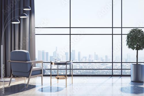 Fototapeta Minimalistic living room with panoramic city view. obraz