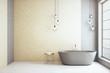 Minimalistic  loft bathroom with blank wall