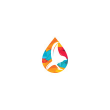 Bird Drop Vector Logo Design.