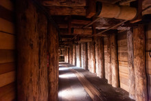 Illuminated Tunnels In Old Mines