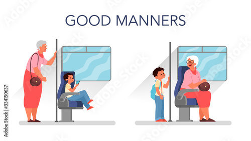Valokuvatapetti Good manners concept. Retired woman standing in the bus