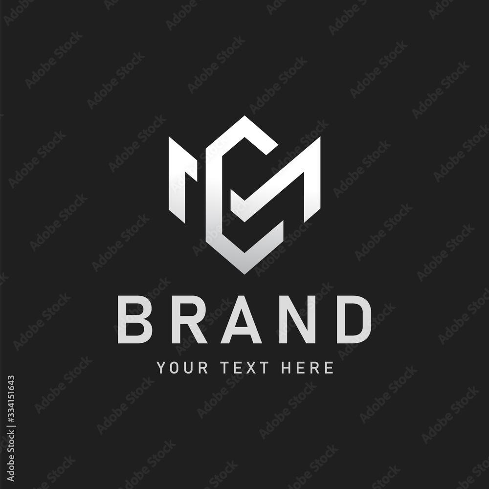 Fototapeta MC or CM letter logo design