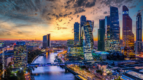Fototapeta Moscow city skyscraper and skyline architecture, Moscow international business financial office with Moscow river, Aerial view skyscraper of Moscow City business center in autumn season, Russia. obraz