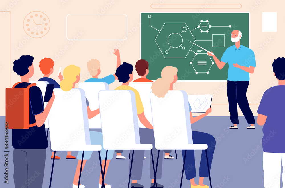 Fototapeta Lecture. Student class, education training lesson. Teacher presentation or educational seminar. Male professor people vector illustration. Education class school, training or teaching