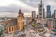 Frankfurt Hauptwache und Katharinen Kirche  bei Sonnenuntergang