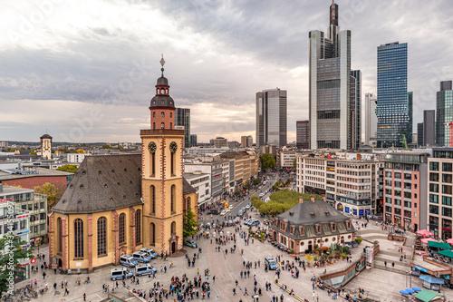 Frankfurt Hauptwache und Katharinen Kirche  bei Sonnenuntergang Tableau sur Toile