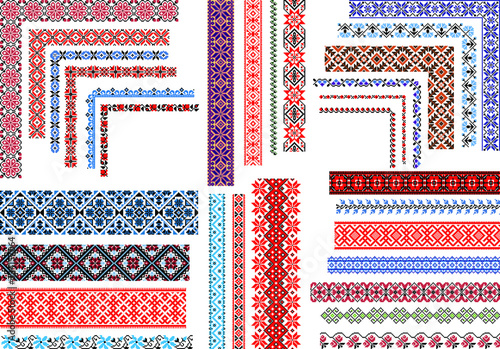 Fotografia Set of editable traditional seamless ethnic patterns for embroidery stitch