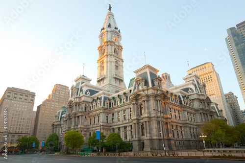 Fotografía City hall and downtown Philadelphia at eary morning, Pennsylvania, United States