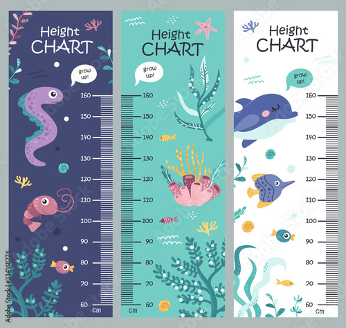 Cuadros en Lienzo Kids height chart with seaweed and sea animals.