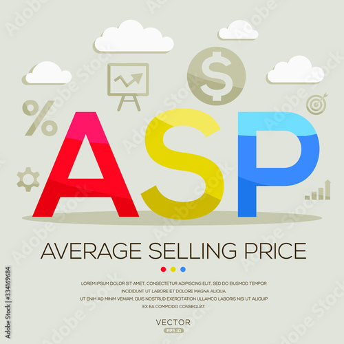 Photo ASP mean ( average selling price) ,letters and icons,Vector illustration