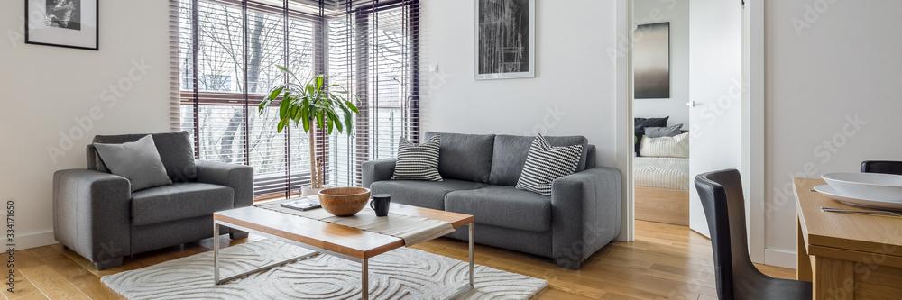 Fototapeta Living room with corner windows