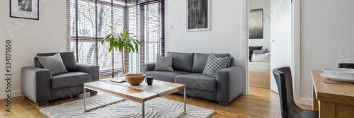 Obraz Living room with corner windows - fototapety do salonu