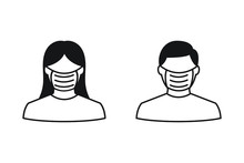 People Face With Mask Icon Vector In Isolated On White Background. Notice Safety Sign, Wear Dust Mask. Protection From The Coronavirus Or Covid-19 Concept.