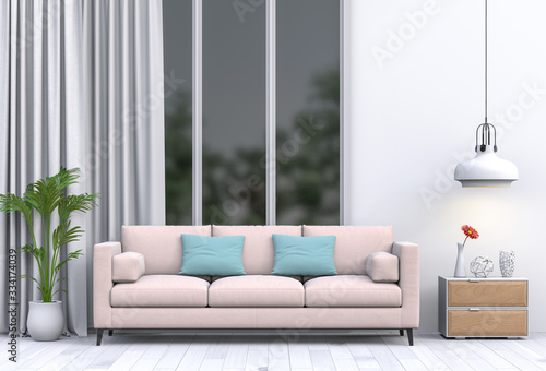 Fototapety, obrazy: interior modern living room with sofa,  plant, lamp, decoration, 3D render