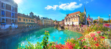 Canal Du Thiou And Church Of Saint Francois De Sales In Annecy. France